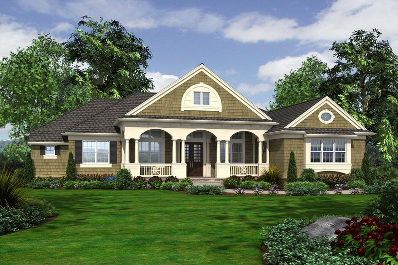 Country Exterior - Front Elevation Plan #132-203 - Houseplans.com