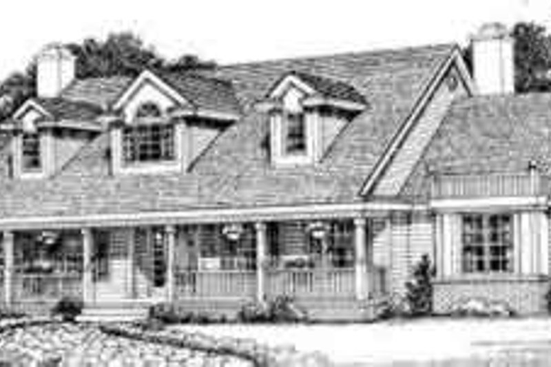 Southern Exterior - Front Elevation Plan #72-453