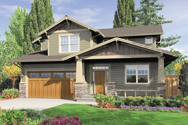 Craftsman style house plan 3 beds 2 5 baths 2002 sq ft - How much paint for 1800 sq ft exterior ...