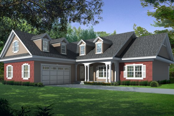 Country Exterior - Front Elevation Plan #112-163