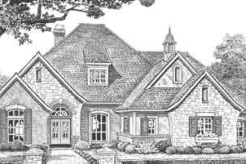 European Style House Plan - 4 Beds 3.5 Baths 2998 Sq/Ft Plan #310-322 Exterior - Front Elevation