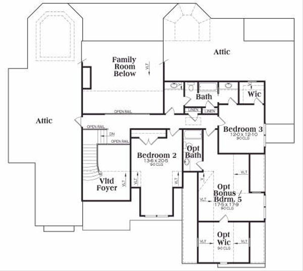 European Floor Plan - Upper Floor Plan Plan #419-163