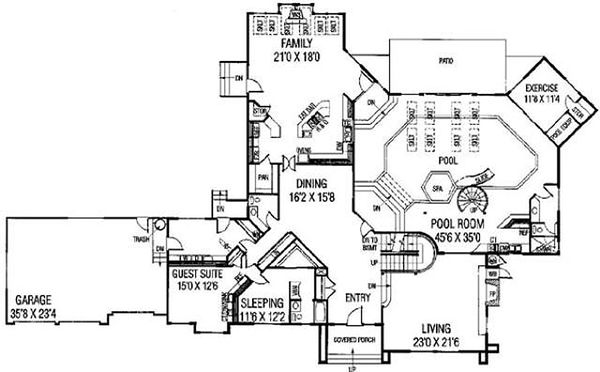 House Design - Modern Floor Plan - Main Floor Plan #60-654