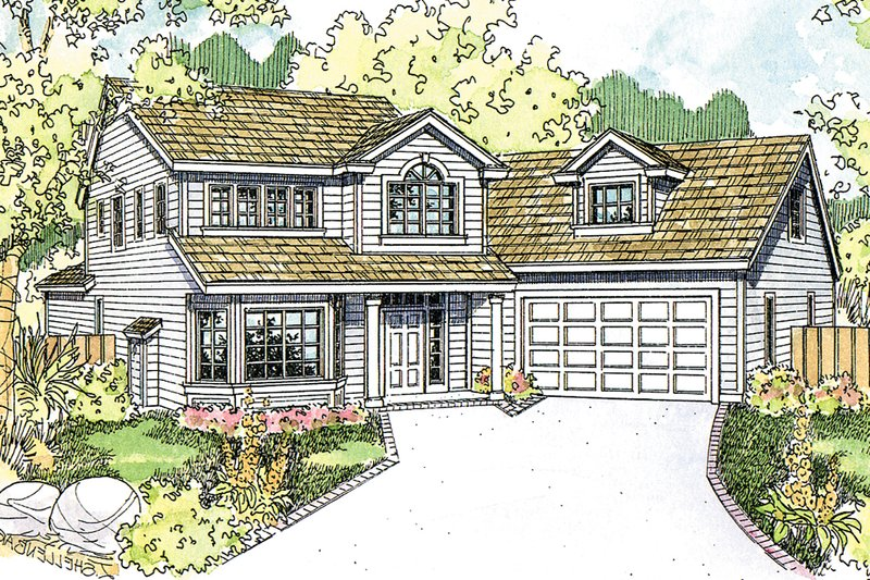 Architectural House Design - Country Exterior - Front Elevation Plan #124-1208