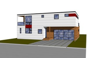 Modern style home design, front elevation
