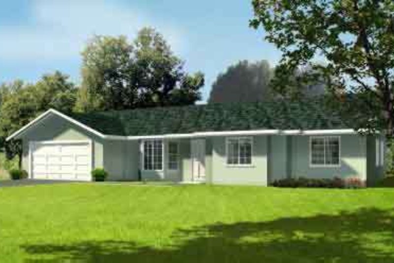 Ranch Style House Plan - 3 Beds 2 Baths 1352 Sq/Ft Plan #1-1205 Exterior - Front Elevation