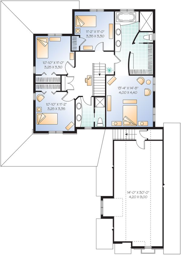 Farmhouse Floor Plan - Upper Floor Plan Plan #23-587