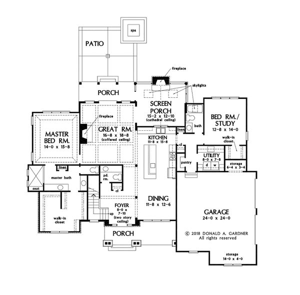 Craftsman Floor Plan - Main Floor Plan Plan #929-1080