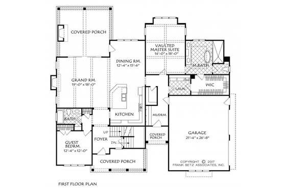 Farmhouse Floor Plan - Main Floor Plan Plan #927-981
