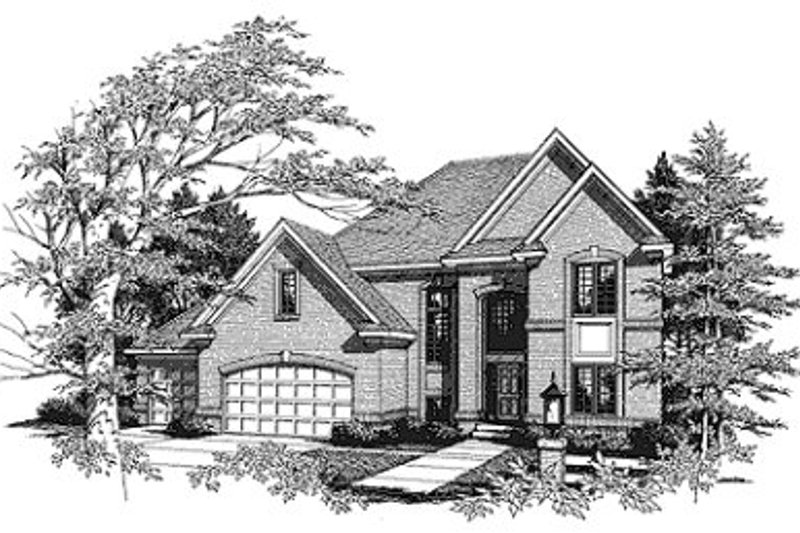 Traditional Style House Plan - 3 Beds 2.5 Baths 2592 Sq/Ft Plan #70-415 Exterior - Front Elevation