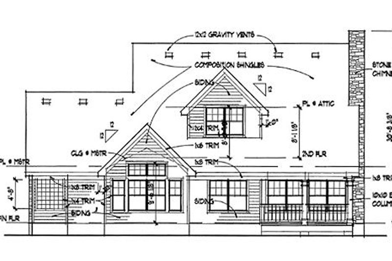 Southern Exterior - Rear Elevation Plan #120-157 - Houseplans.com