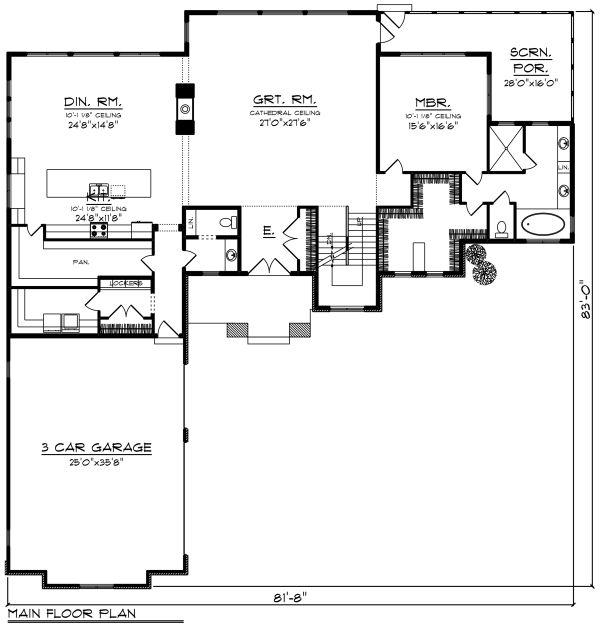 Craftsman Floor Plan - Main Floor Plan Plan #70-1292