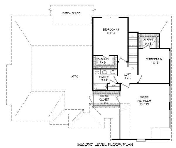 European Floor Plan - Upper Floor Plan Plan #932-30