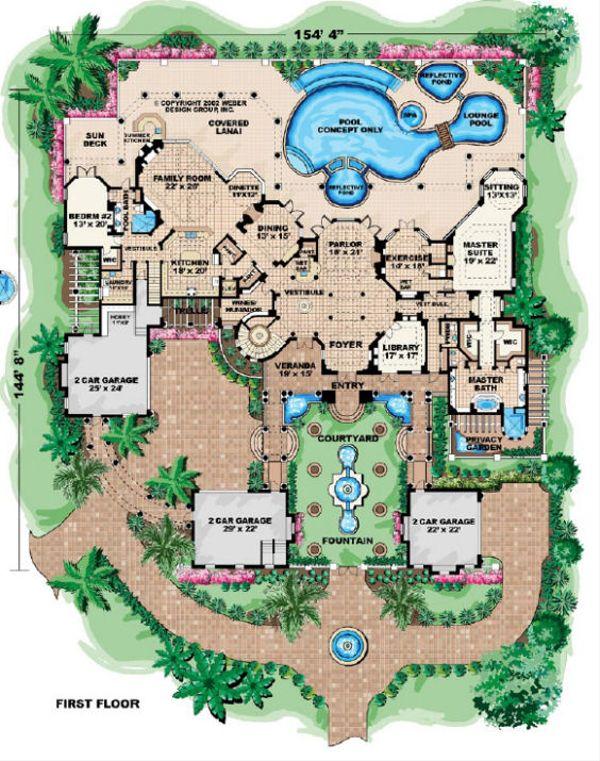 Mediterranean Floor Plan - Main Floor Plan #27-278