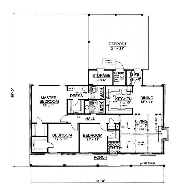 Country Floor Plan - Main Floor Plan Plan #45-429