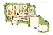 European Style House Plan - 4 Beds 3.5 Baths 3922 Sq/Ft Plan #942-38 Floor Plan - Main Floor