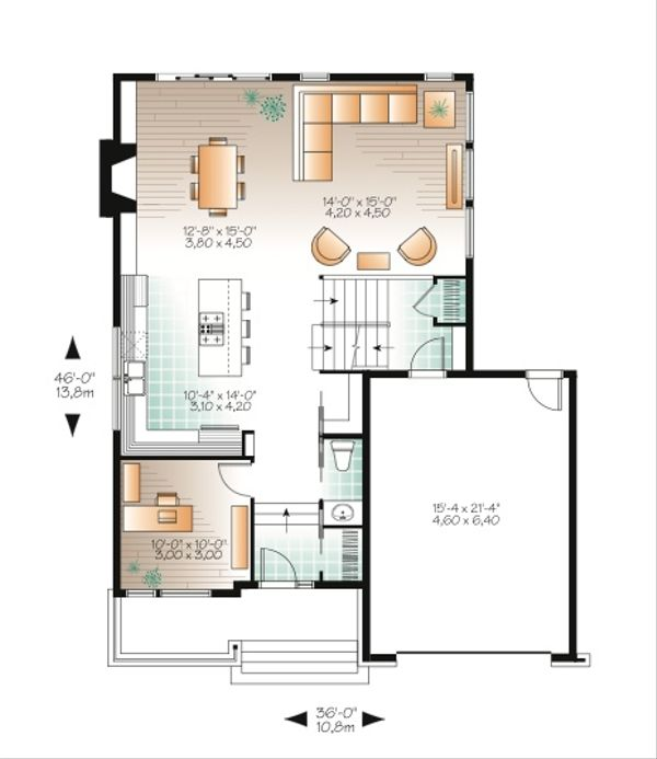Modern Style House Plan - 3 Beds 2.5 Baths 1784 Sq/Ft Plan #23-2236 Floor Plan - Main Floor Plan