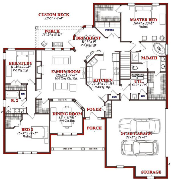Traditional Floor Plan - Main Floor Plan #63-194