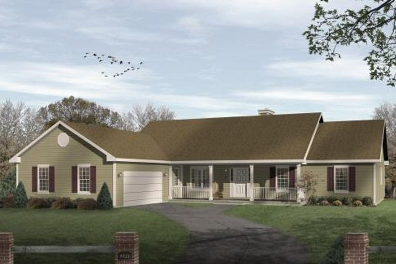 Ranch Exterior - Front Elevation Plan #22-108