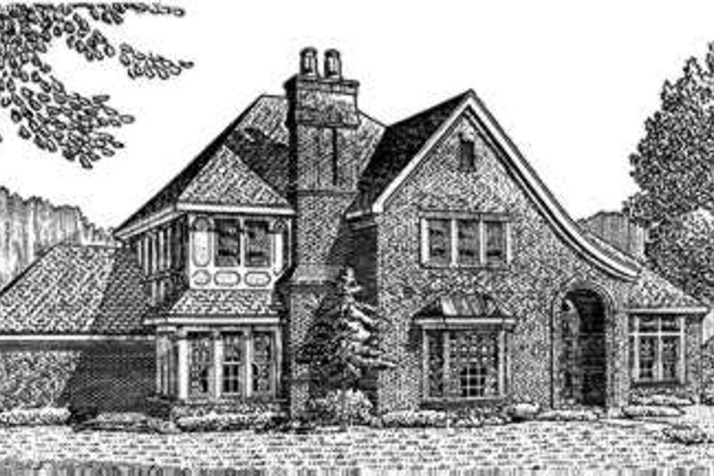European Exterior - Front Elevation Plan #410-202