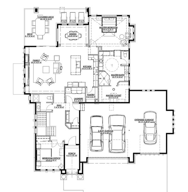 Ranch Floor Plan - Main Floor Plan Plan #1069-5