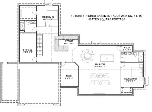 Farmhouse Floor Plan - Lower Floor Plan Plan #1069-19