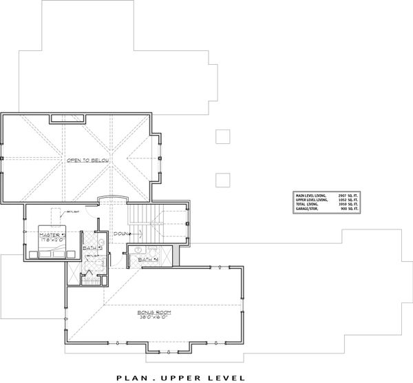 Craftsman Floor Plan - Upper Floor Plan Plan #892-16