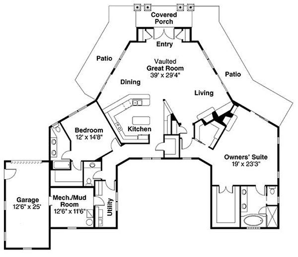Craftsman Floor Plan - Main Floor Plan Plan #124-830