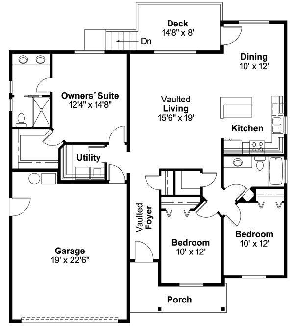 Country Floor Plan - Main Floor Plan Plan #124-593