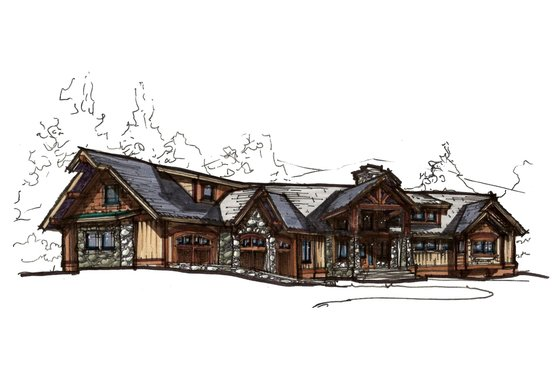 Craftsman Exterior - Front Elevation Plan #921-23