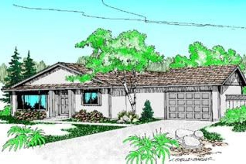 Ranch Exterior - Front Elevation Plan #60-430 - Houseplans.com