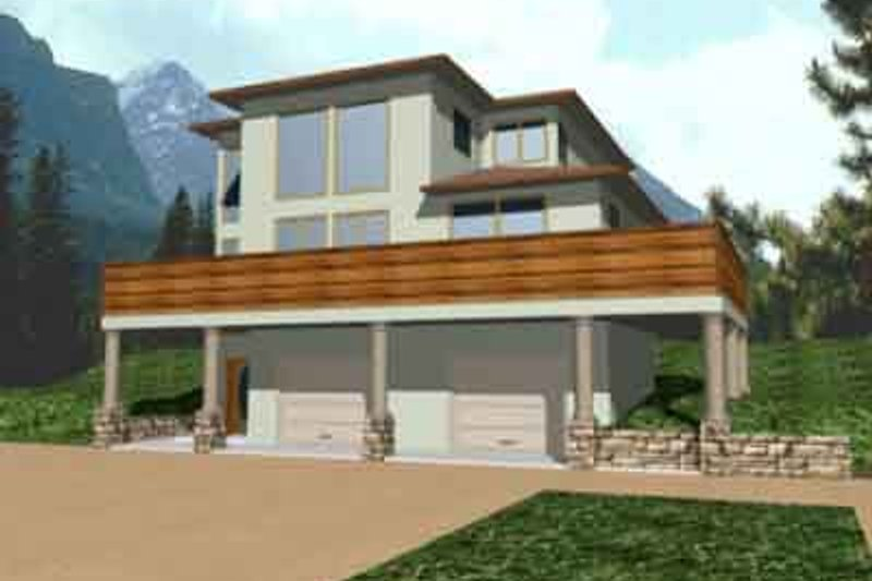 Contemporary Style House Plan - 3 Beds 2.5 Baths 1889 Sq/Ft Plan #117-198 Exterior - Front Elevation