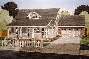 Cottage Exterior - Front Elevation Plan #513-3