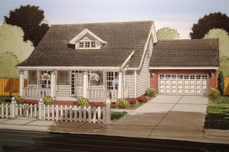 Dream House Plan - Cottage Exterior - Front Elevation Plan #513-3