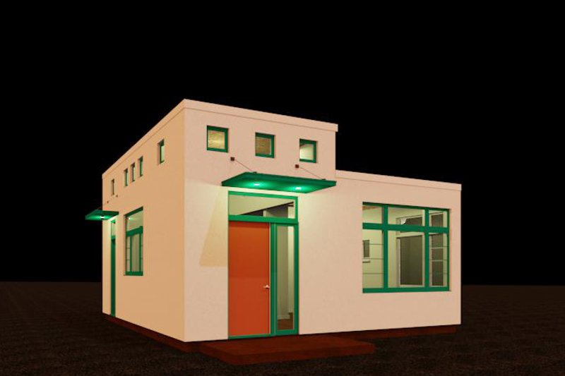 Modern Style House Plan - 1 Beds 1 Baths 484 Sq/Ft Plan #917-37 Exterior - Front Elevation