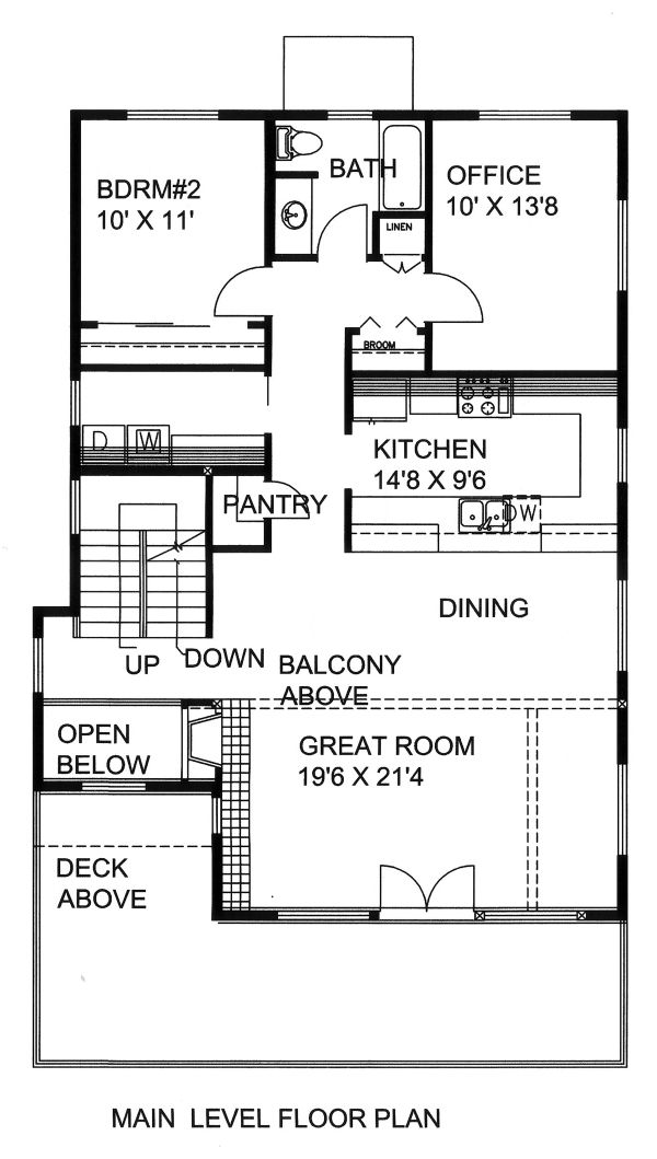 Mediterranean Floor Plan - Main Floor Plan Plan #117-884