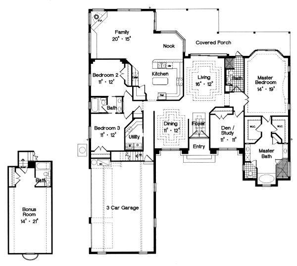 Mediterranean Floor Plan - Main Floor Plan Plan #417-317