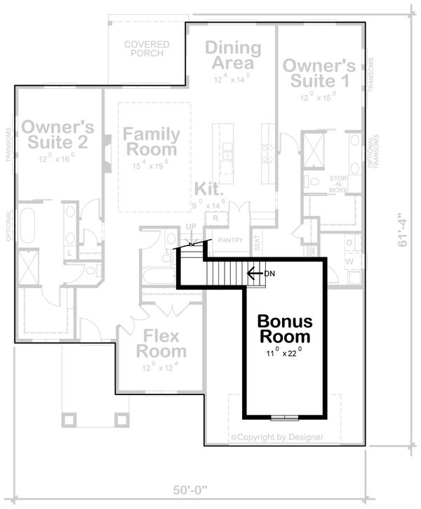 Dream House Plan - Contemporary Floor Plan - Upper Floor Plan #20-2428