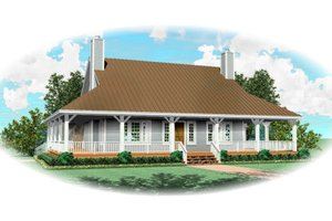 Southern Exterior - Front Elevation Plan #81-13909