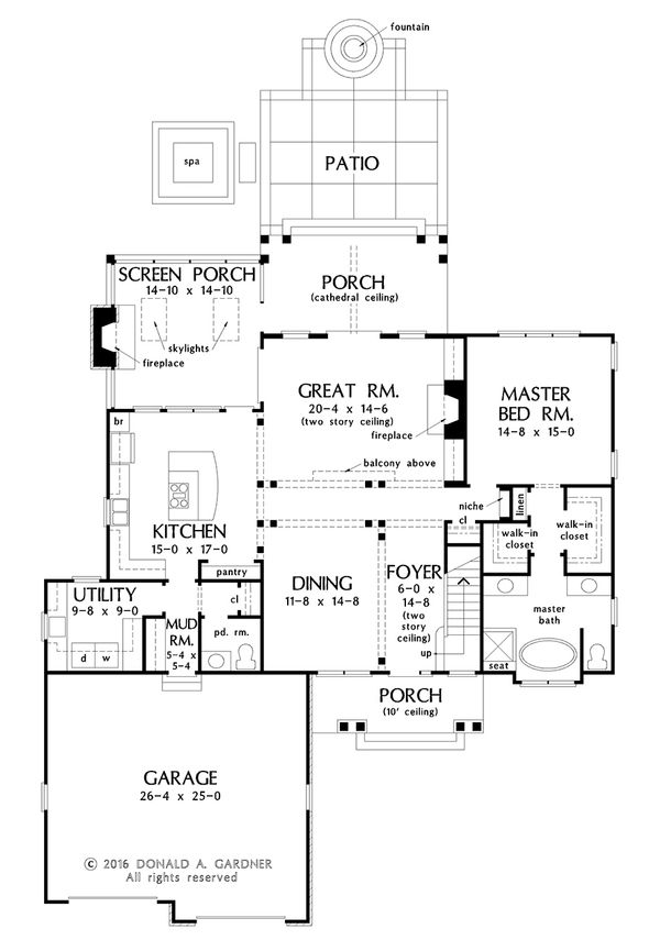 European Floor Plan - Main Floor Plan #929-1033
