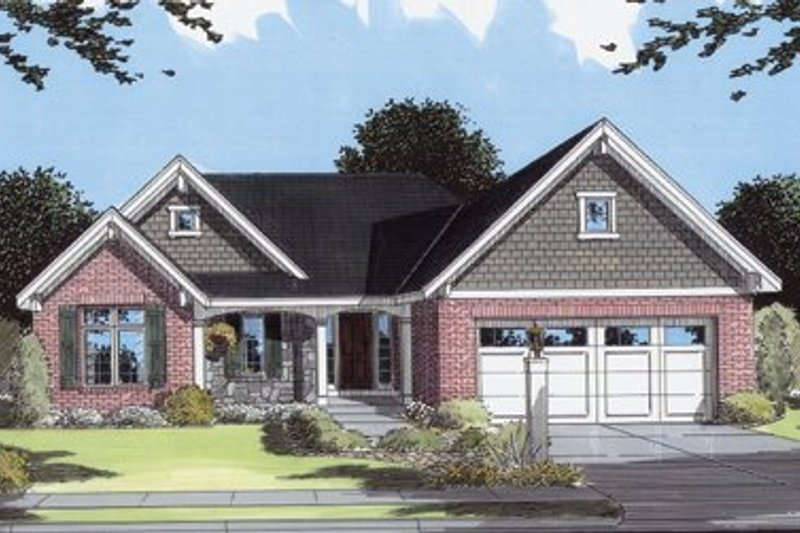Ranch Style House Plan - 3 Beds 2 Baths 1698 Sq/Ft Plan #46-112 Exterior - Front Elevation