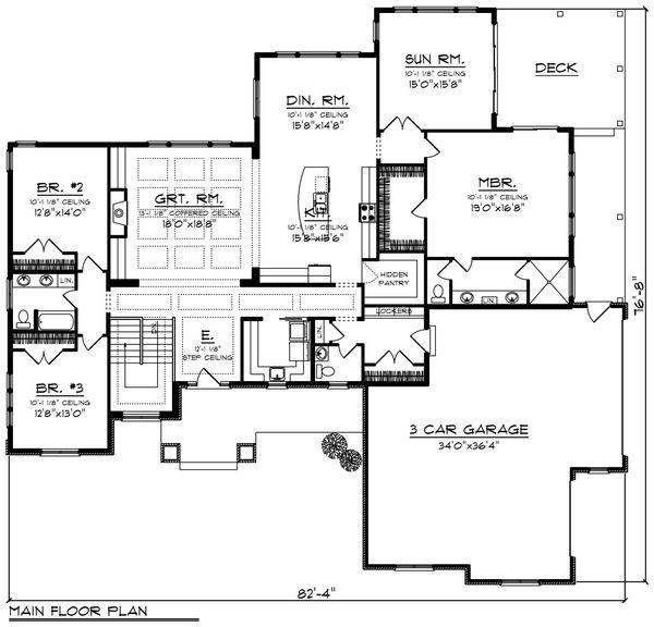 Architectural House Design - Ranch Floor Plan - Main Floor Plan #70-1427