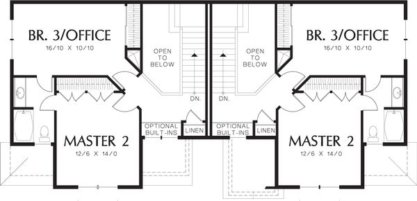 Craftsman Floor Plan - Upper Floor Plan Plan #48-566