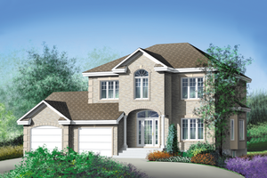 European Exterior - Front Elevation Plan #25-2051