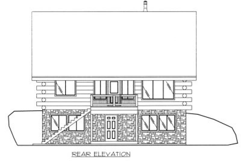 Log Exterior - Rear Elevation Plan #117-414 - Houseplans.com