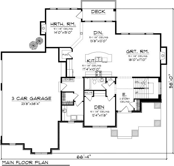 Craftsman Floor Plan - Main Floor Plan Plan #70-1125