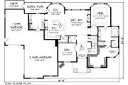 Craftsman Style House Plan - 4 Beds 3.5 Baths 3003 Sq/Ft Plan #70-1060 Floor Plan - Main Floor Plan