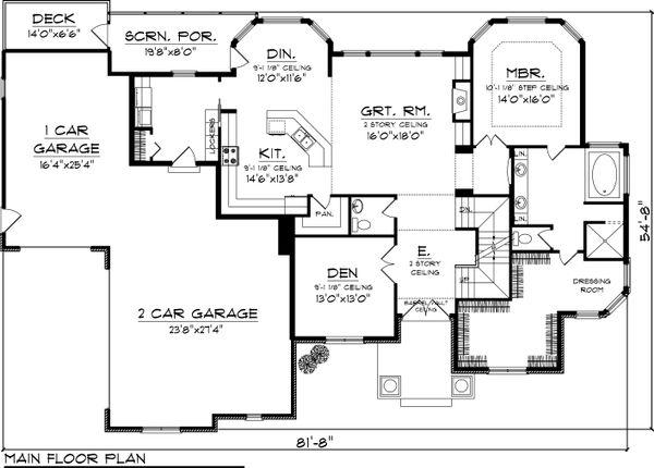 Dream House Plan - Craftsman Floor Plan - Main Floor Plan #70-1060