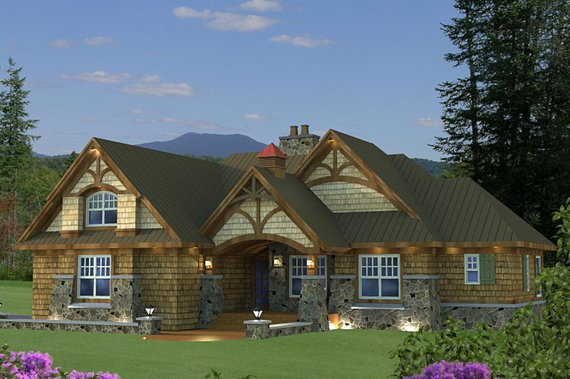 Craftsman Style House Plan - 3 Beds 3 Baths 1858 Sq/Ft Plan #51-523 Exterior - Front Elevation