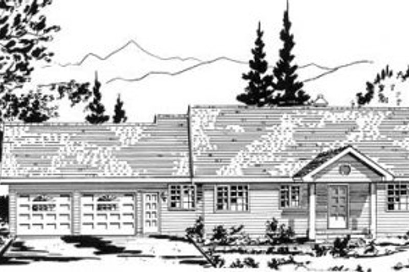 Ranch Style House Plan - 2 Beds 2.5 Baths 1233 Sq/Ft Plan #18-9202 Exterior - Front Elevation
